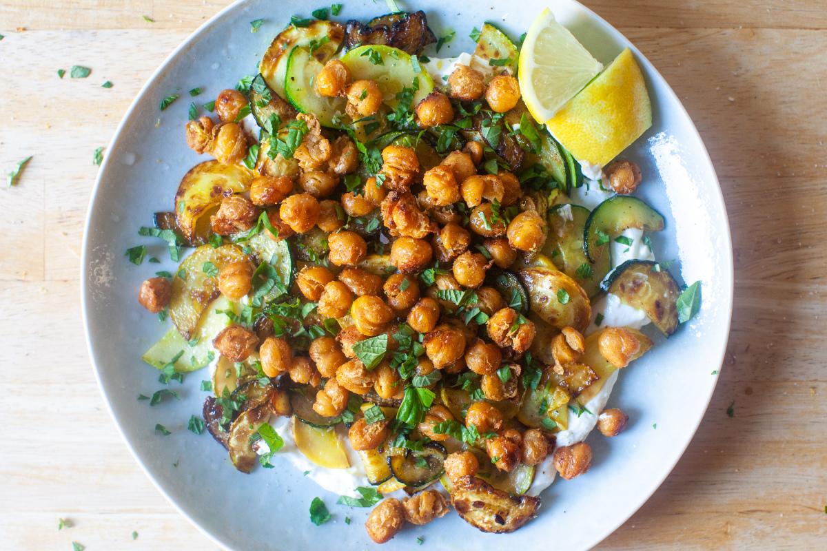 Crisped Chickpeas With Herbs And Garlic Yogurt
