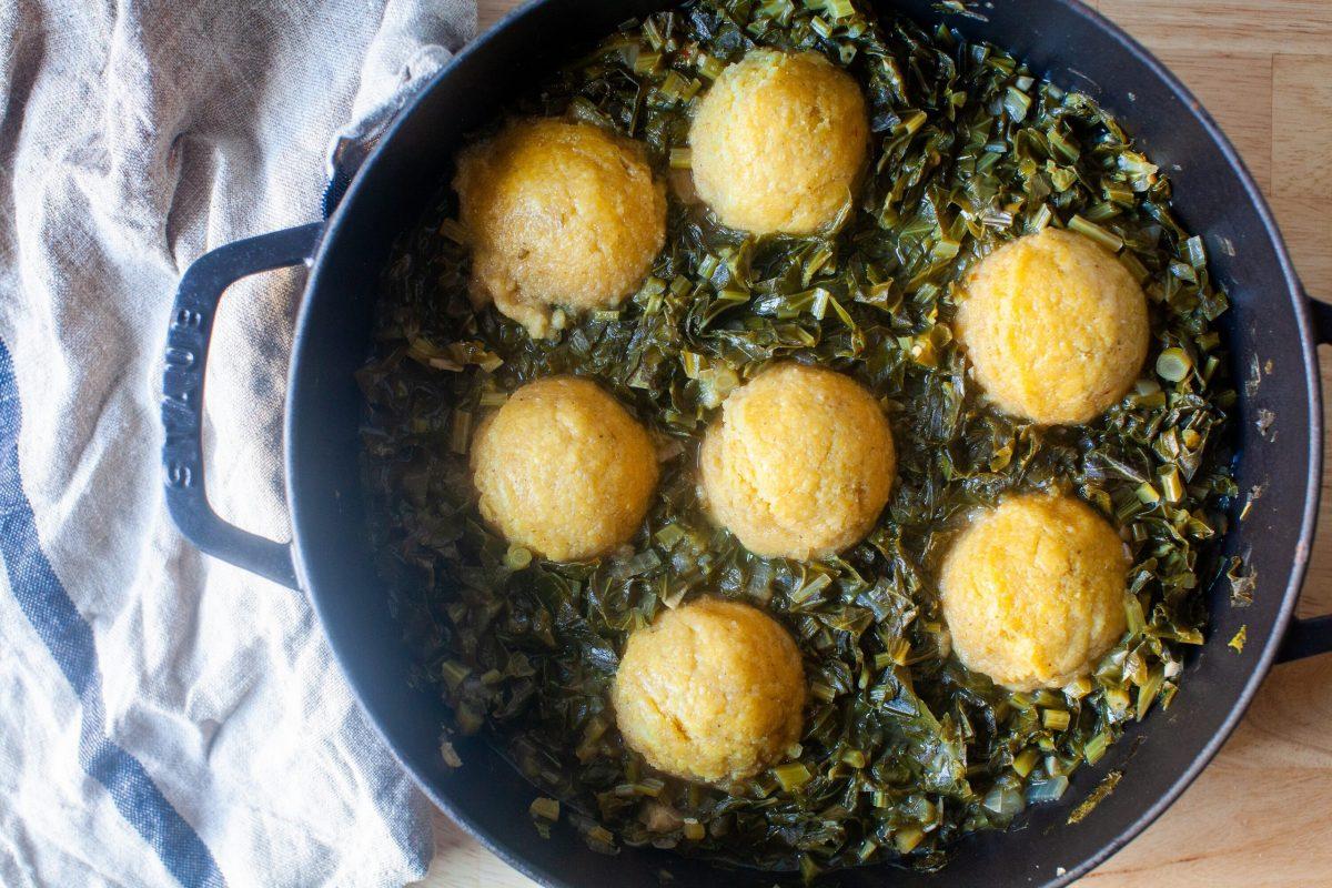 Collard Greens With Cornmeal Dumplings
